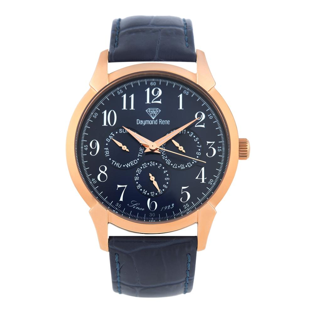 DR 3ATM Rose Gold Navy Leather Pilot Series Watch