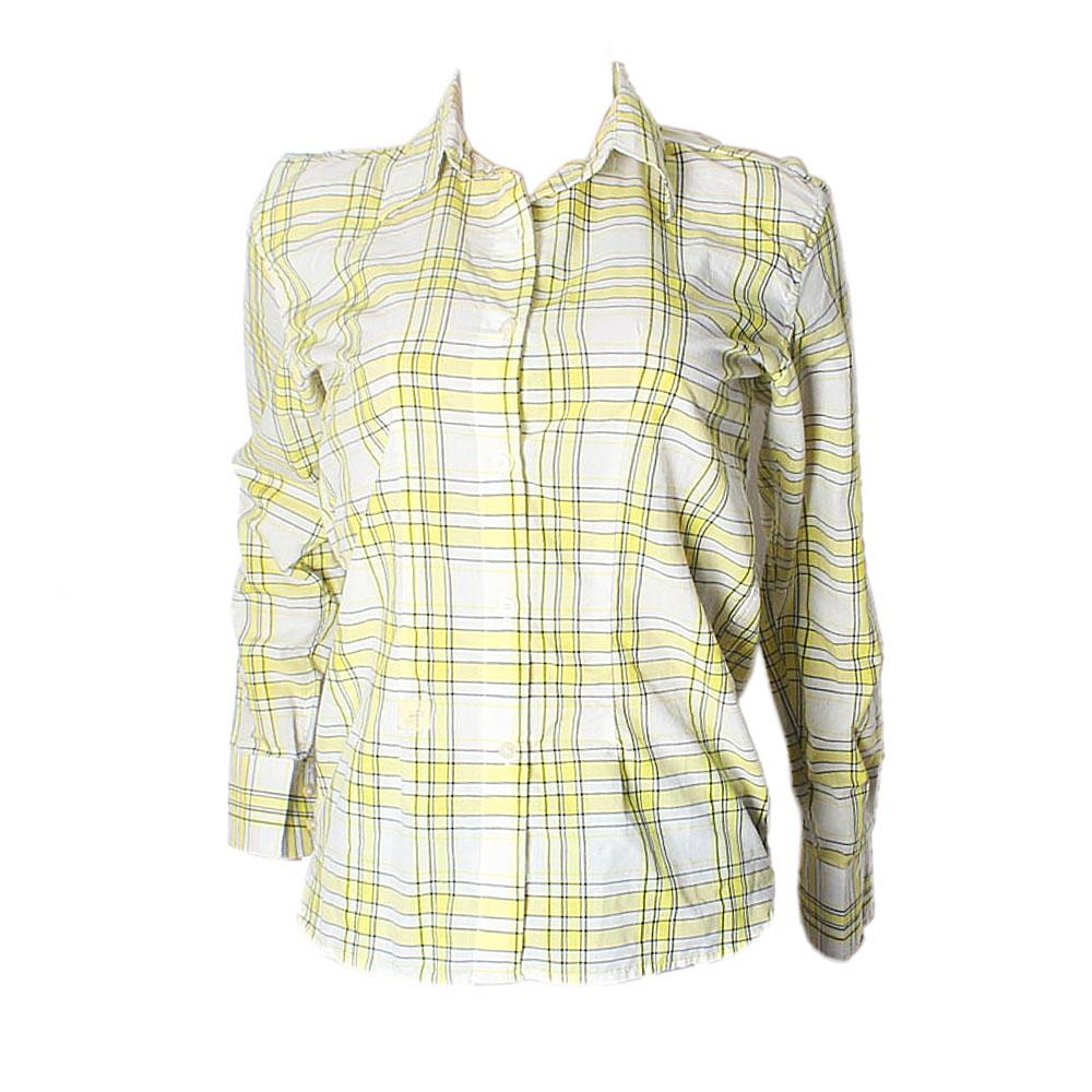 T.M.Lewis Yellow White Check L-Sleeve Ladies Shirt-L-XL