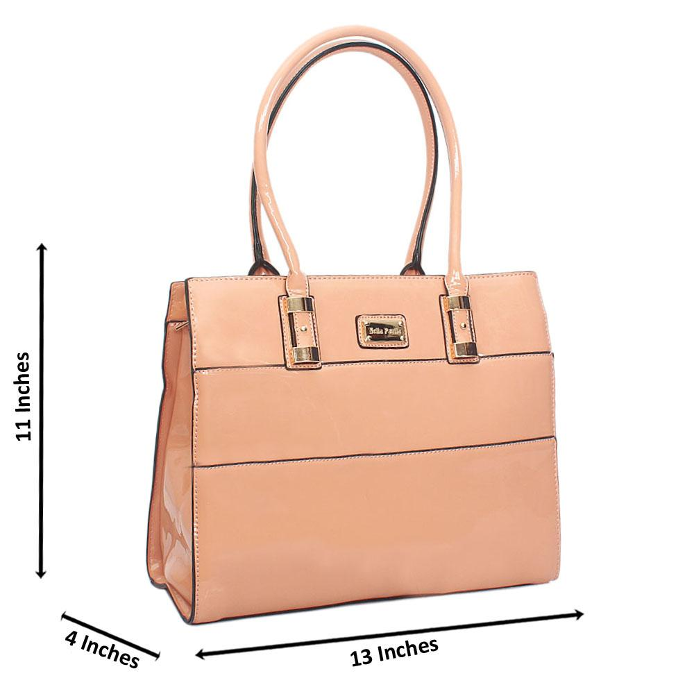 Peach Bella Paulla Patent Leather Tote Handbag