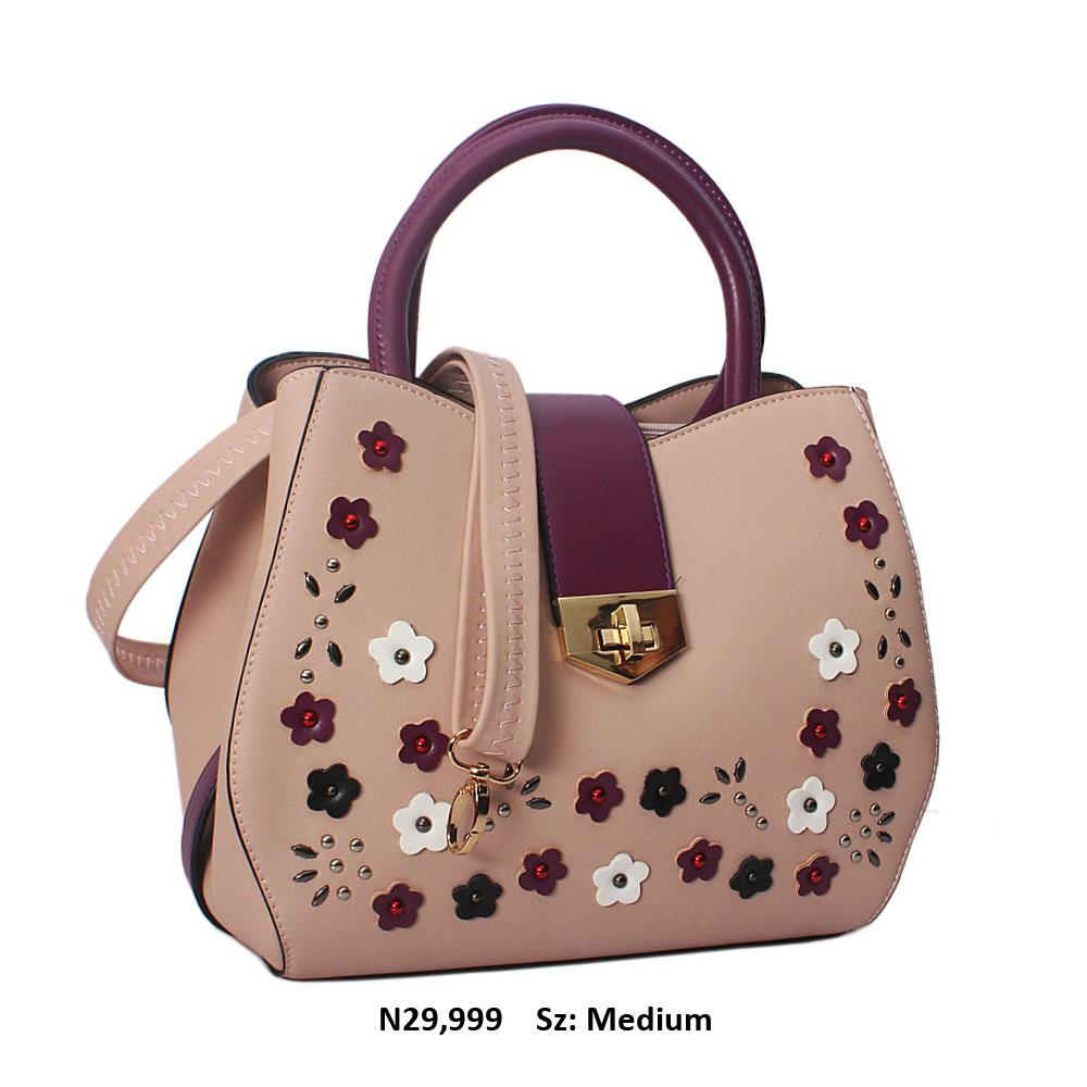 Purple Pink Rose  Cece Leather Tote Handbag