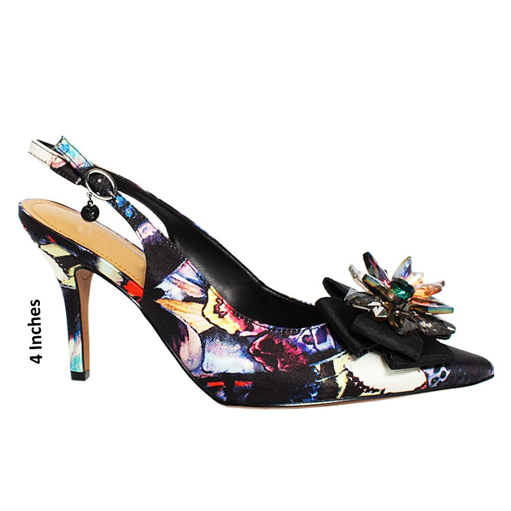 Black Starfish Graphic Print Fabric Slingback Heel