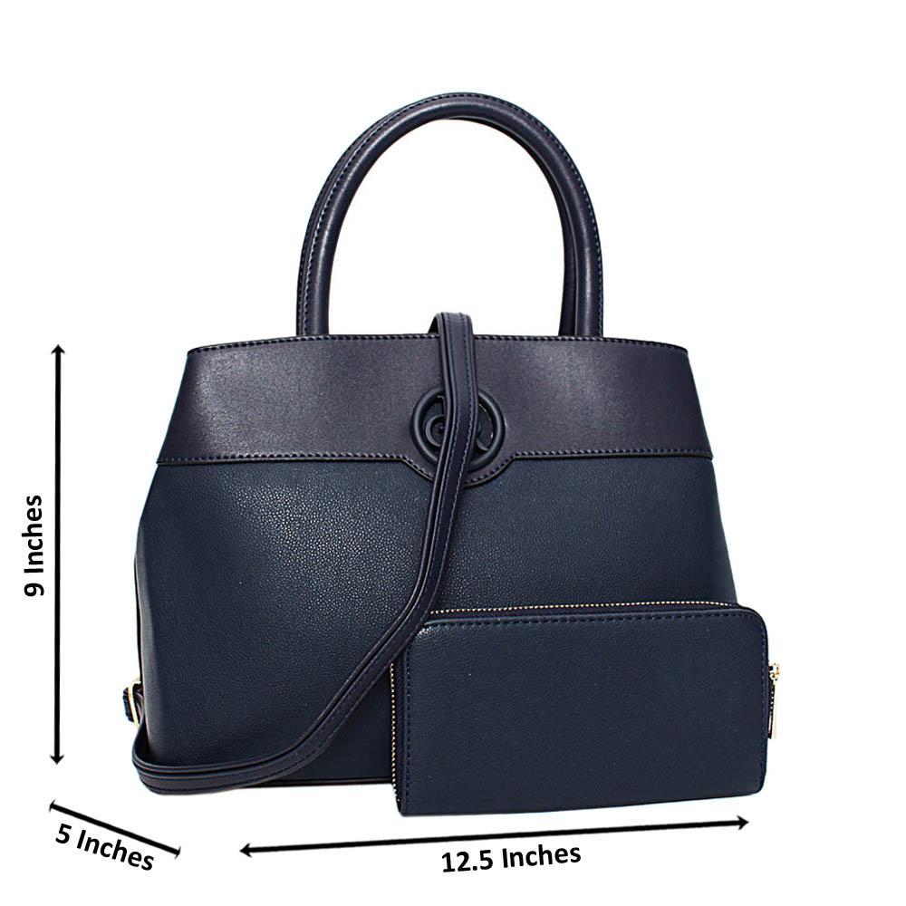 Navy Esmeralda Leather Medium Tote Handbag