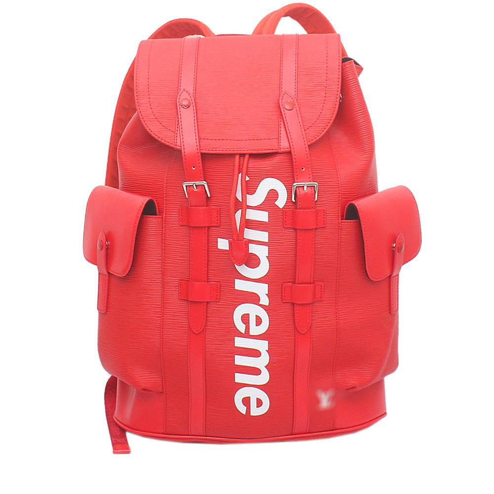 f096343878f Louis Vuitton Red Saffiano Leather Soft GG Supreme Back Pack