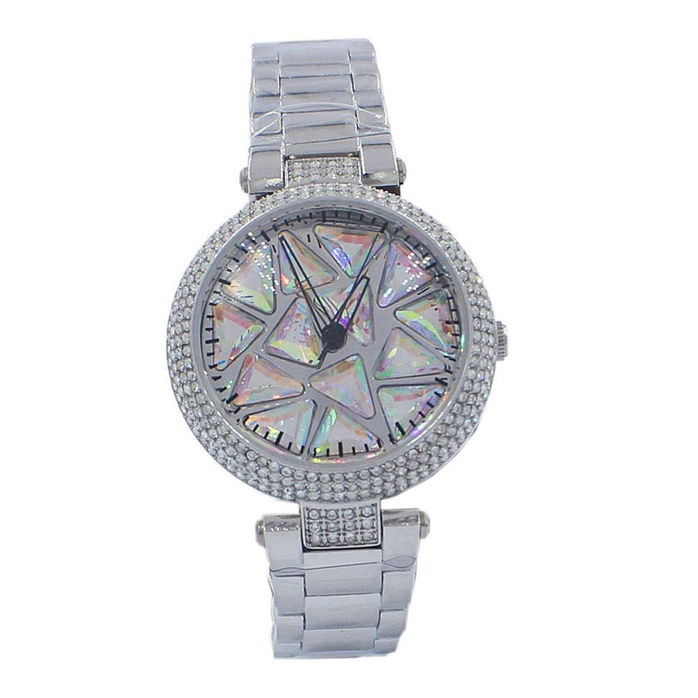 Silver CrystalStudded Pearl FStainless Steel SpinnerLadies Watch
