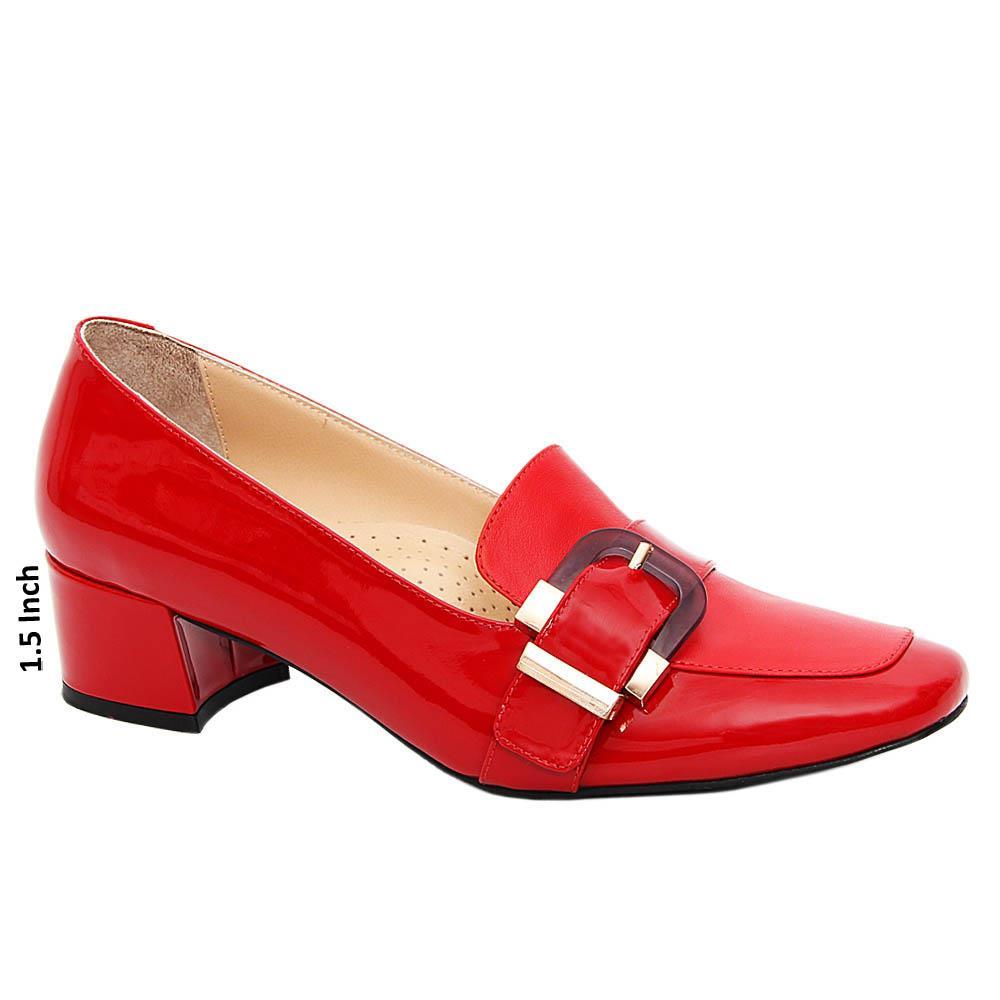 Red Avery Patent Tuscany Leather Mid Heel Pumps