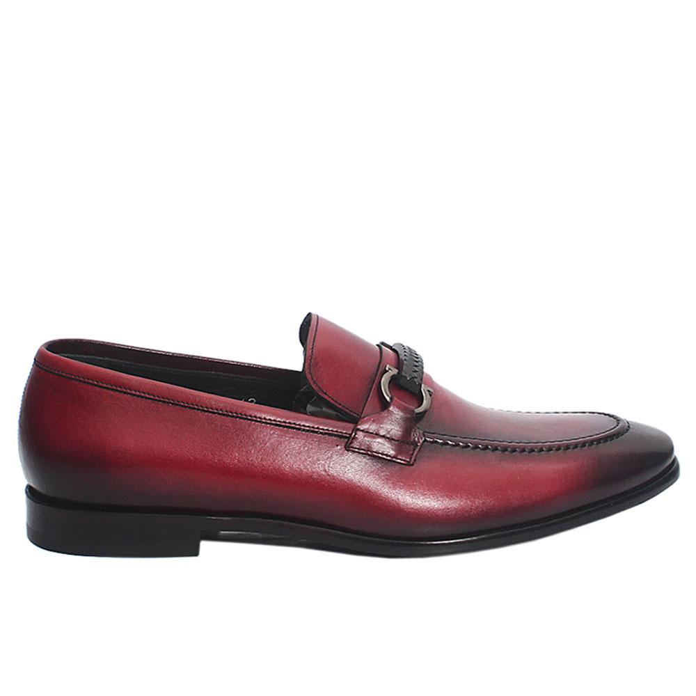 Burgundy Frosino Italian Leather Men Horsebit Loafers