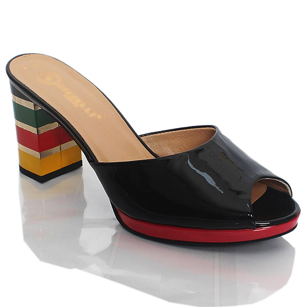 Black Katleen Patent Italian Leather High Heel Slippers