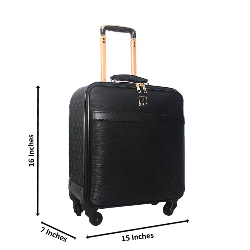 Black Gray Pattern 16 Inch Leather Pilot Suitcase Wt Lock
