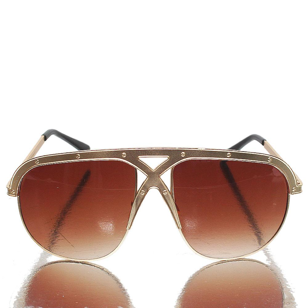 Gold Black Oblong Brown Lens Sunglasses