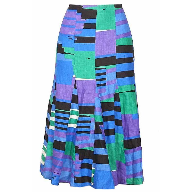 Blue Green Cotton Ladies Flare Skirt W34 L35
