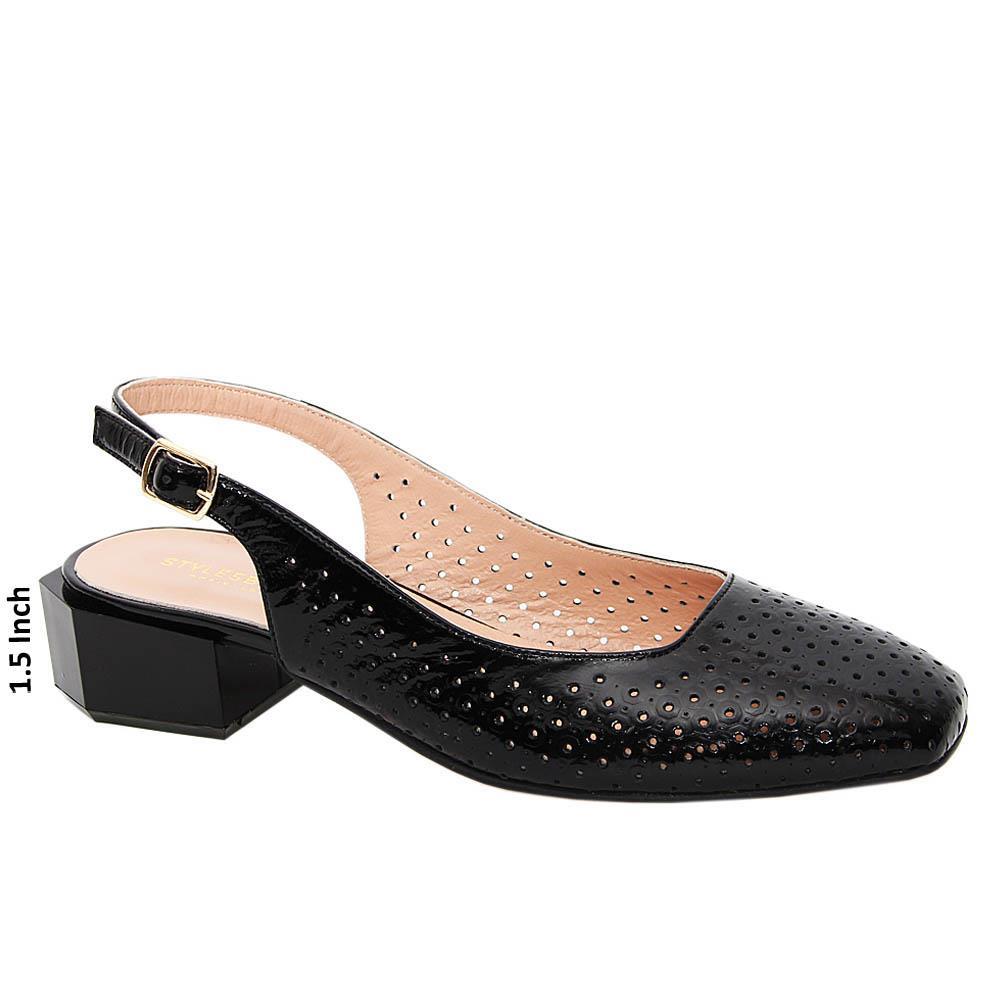 Black Mia Tuscany Soft Leather Mid Heel Slingback Pump