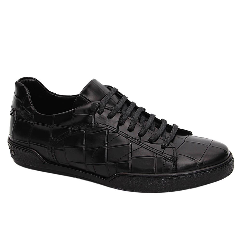 Black Francisco Italian Leather Sneakers
