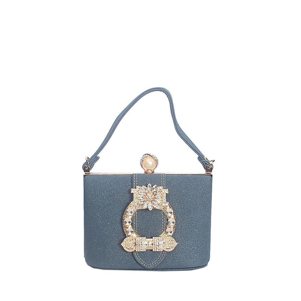 Blue Studded Glitz Leather Hard Clutch Purse Wt Strap