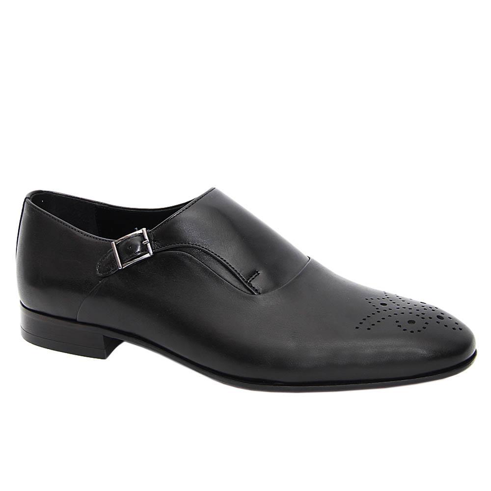 Black Federigo Italian Leather Men Monk Strap Shoe