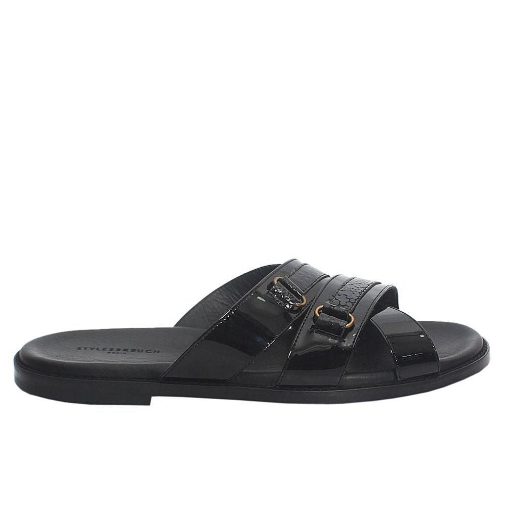 Black-Rugan-Patent-Italian-Leather-Men-Slippers