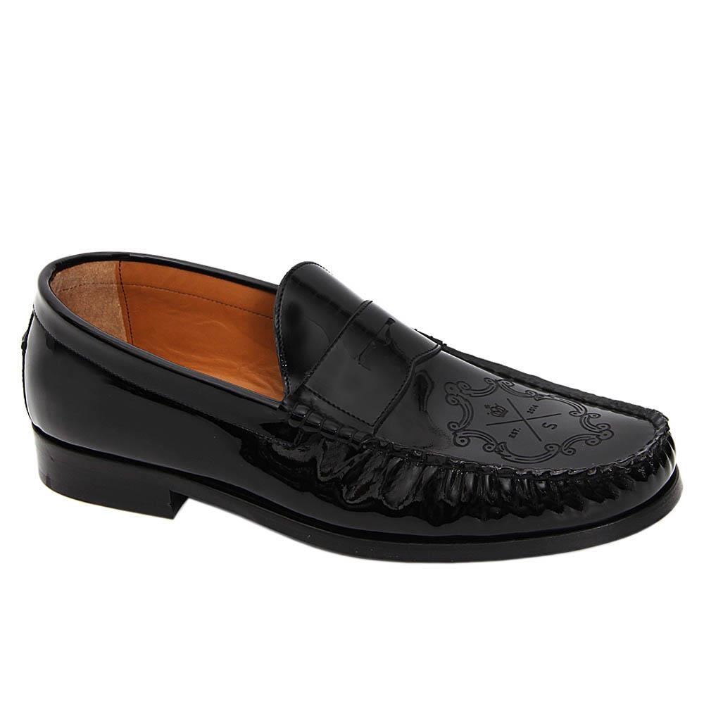 Black Fillipo Patent Italian Leather Penny Loafers