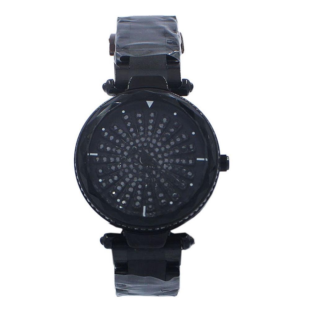 Black Crystal Studded Stainless Steel SpinnerLadies Watch