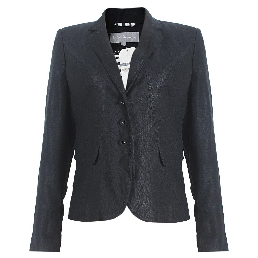 Black Cotton Ladies Jacket UK Sz 12