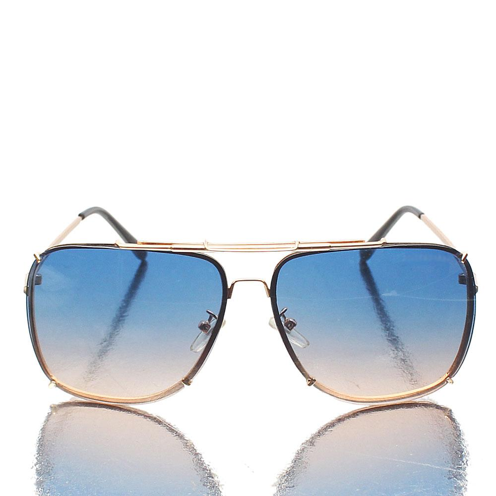 Gold Black Aviator Blue Mix Lens Sunglasses