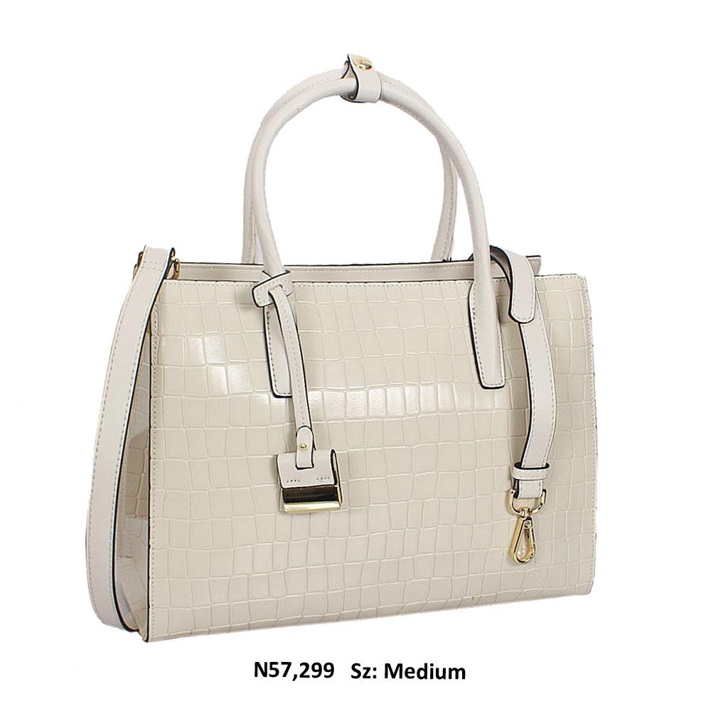 Freya Off White Croc Cowhide Leather Tote Handbag