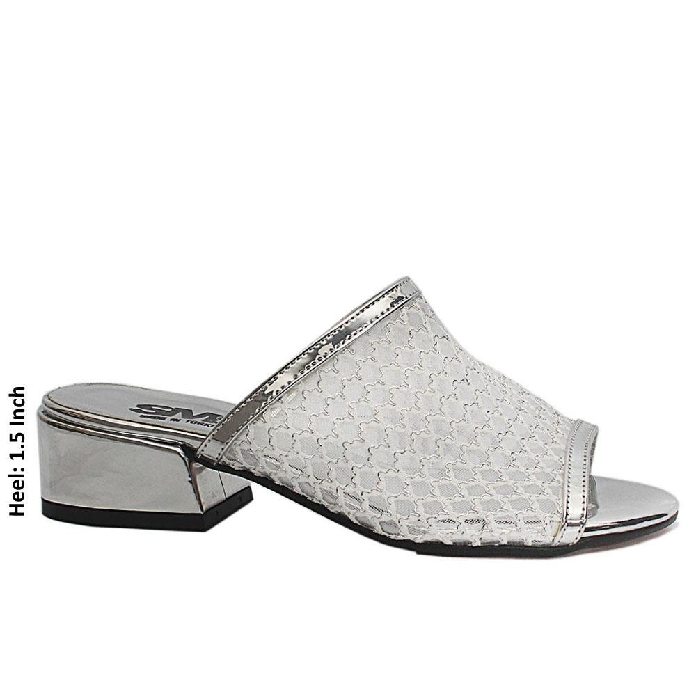 Silver Open Toe Mesh Leather Low Heel Leather Mule