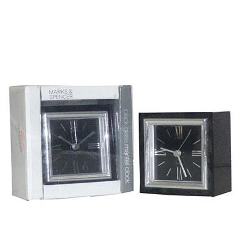 Marks & Spencer Black Glass Mantel Clock