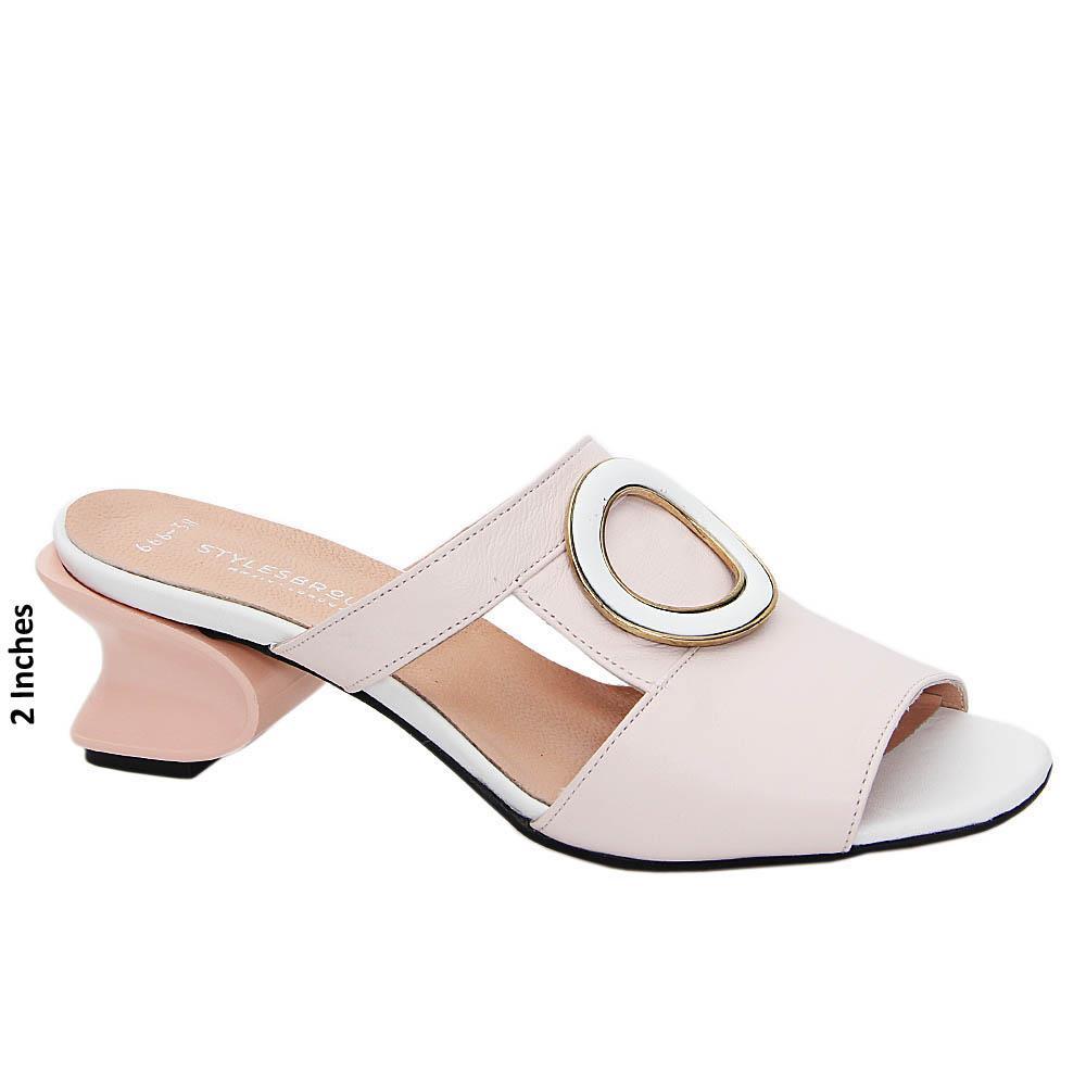 Soft Pink White Olivia Tuscany Leather Mid Heel Mule