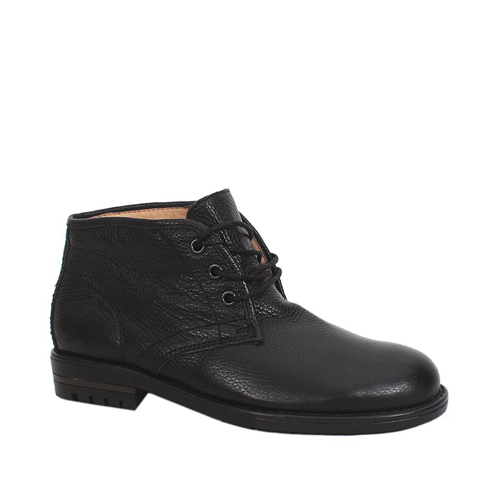 Black Leather Men Ankle Shoes