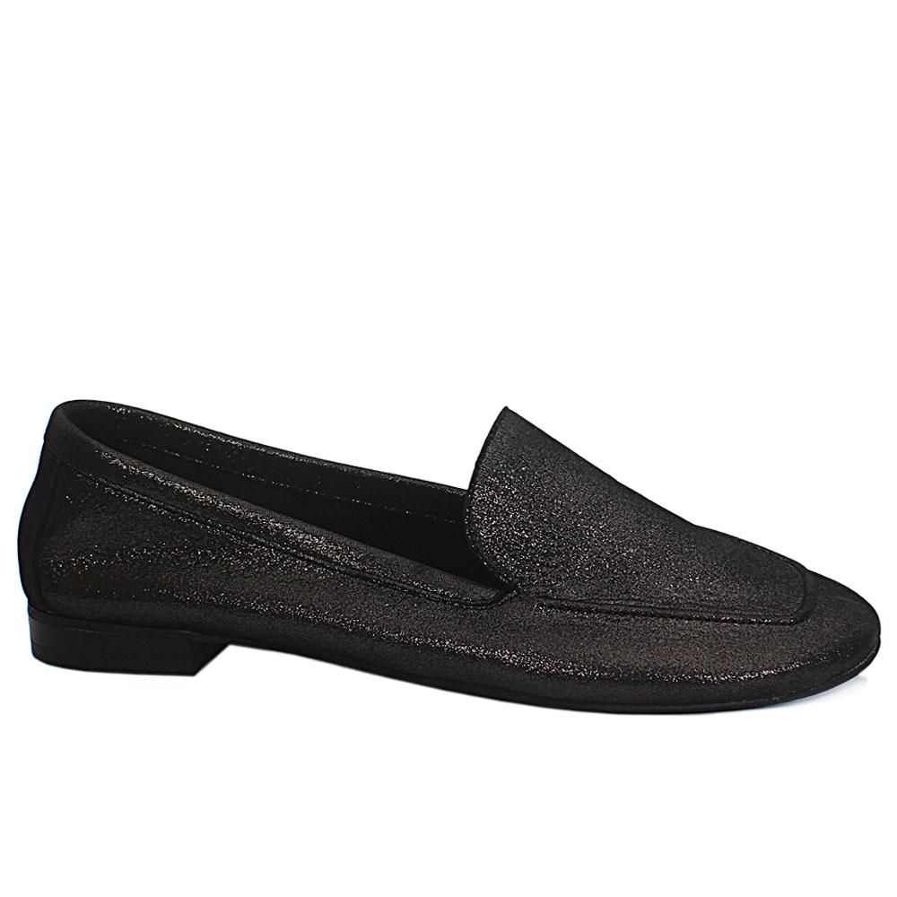Black Soft Leather Flat Shoes