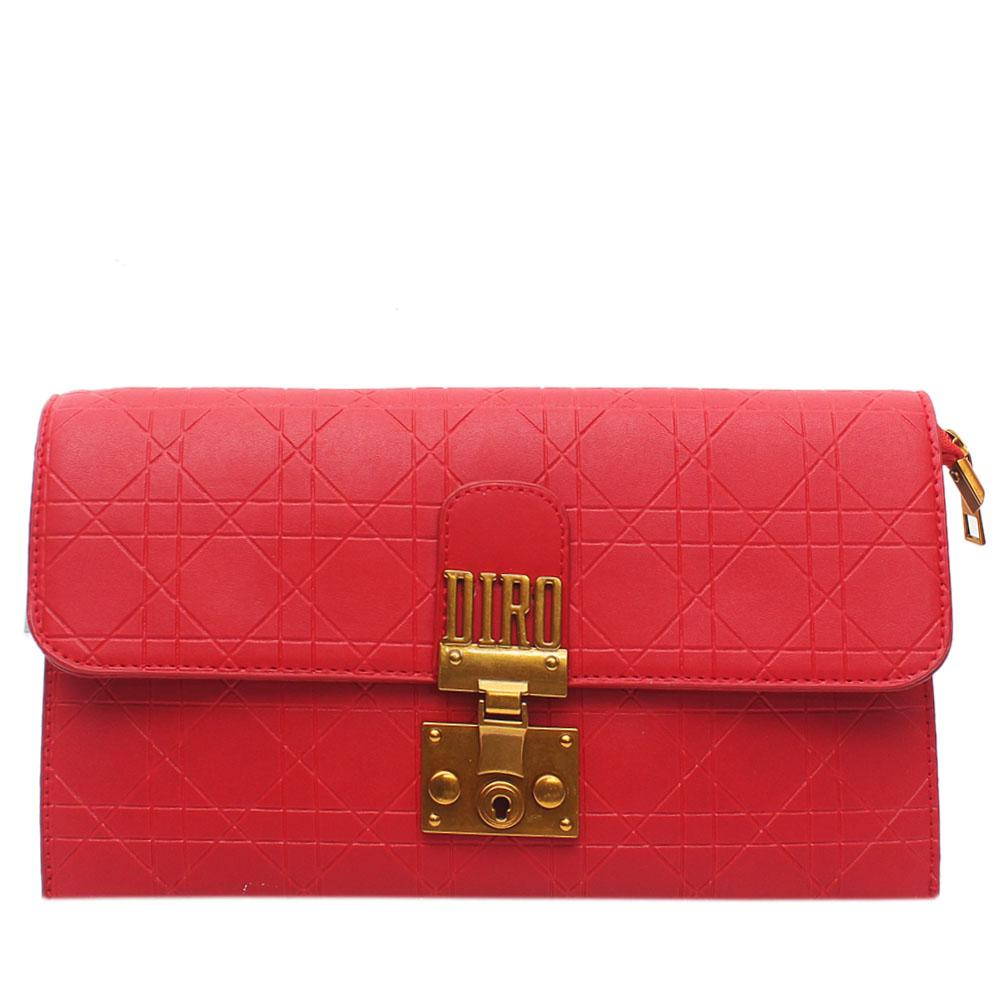 Red Embossed Leather Flat Purse
