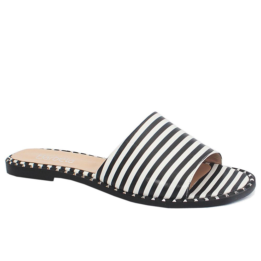Black White Stripe Bleeker Leather Slippers