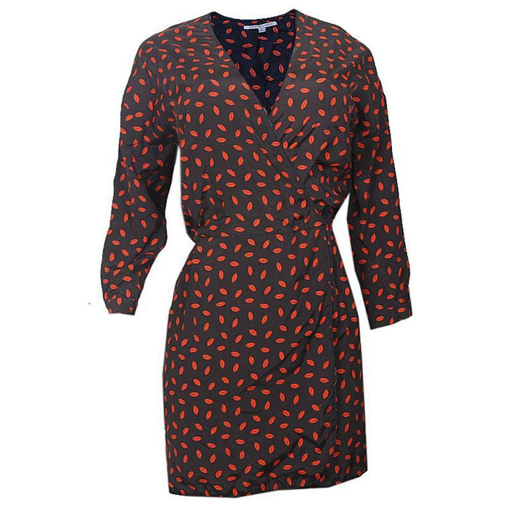Black-Red LipPrint Long Sleeve Ladies Dress-UK 14