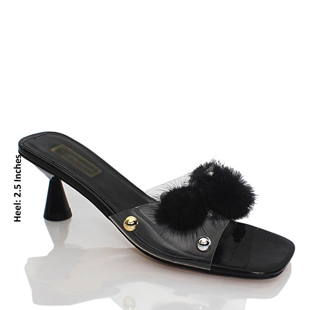 Black Transparent Rubber Leather Mule