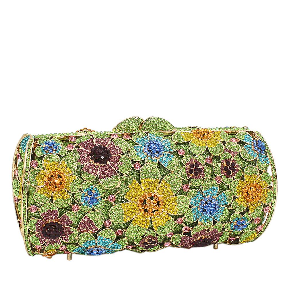 Green-Multicolored-Rose-Petals-Diamante-Crystals-Clutch-Purse