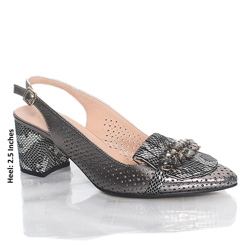 Metallic Gray Ashford Crystals Italian Leather Slingback Heel
