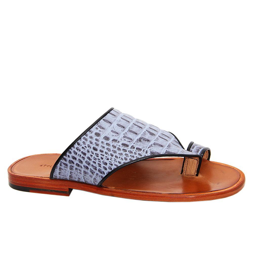 Sky Blue Aaron Italian Leather Toe Loop Slippers