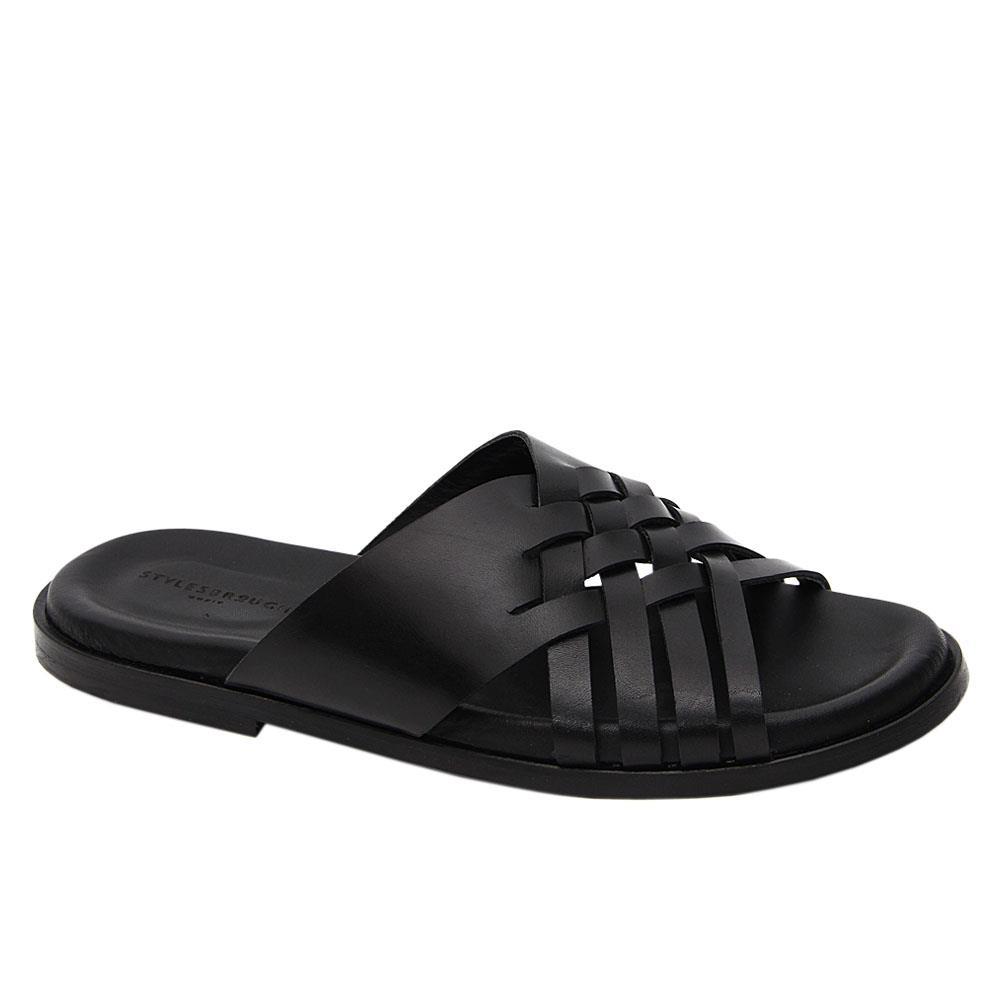 Black Malcom Woven Italian Leather Slippers