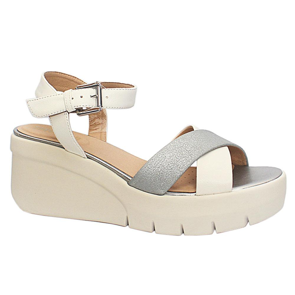 White Silver Torrence Leather Wedge
