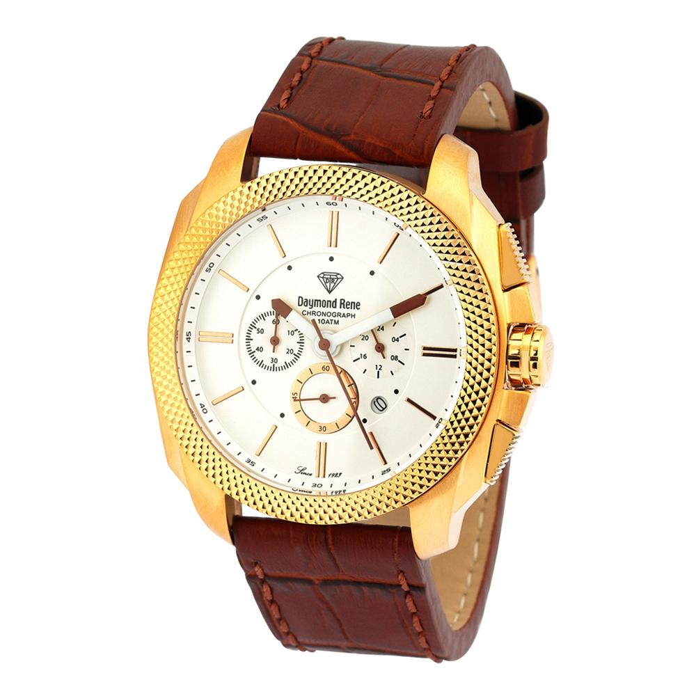 DR 10ATM Cinnamon Brown Rose Gold Leather Chronograph Watch
