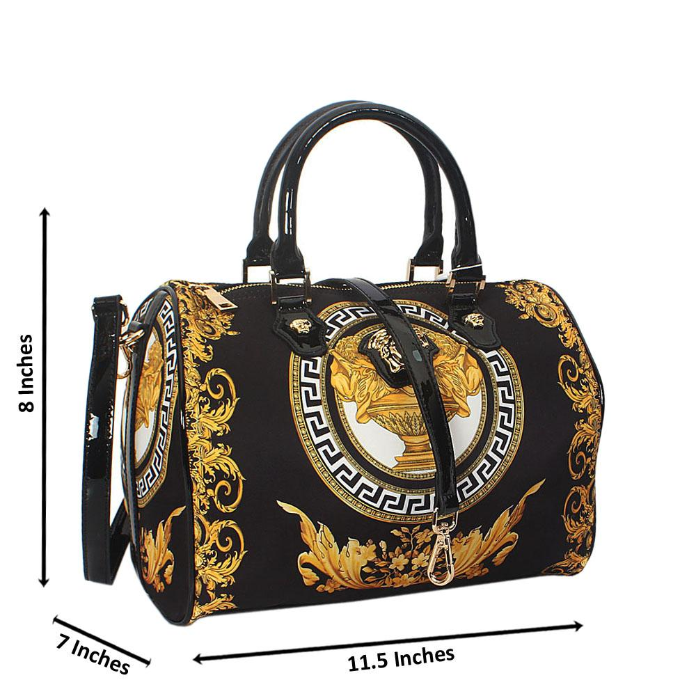 Anne Black Fabric Boston Handbag