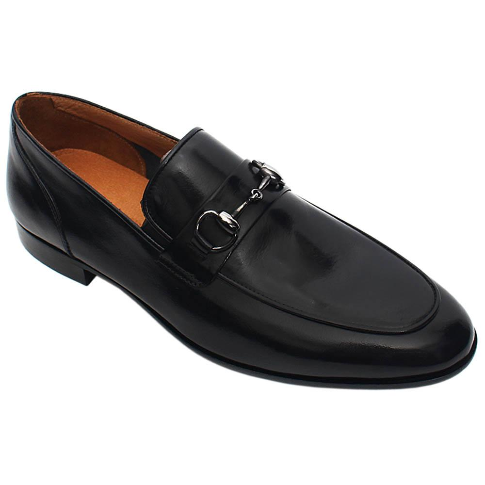 Black Fabrizio Italian Leather Men Horsebit Loafers