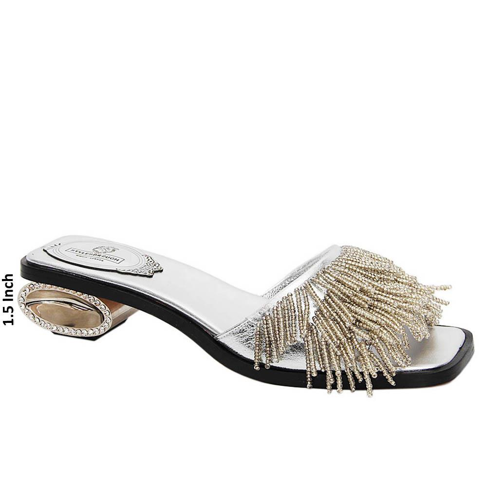 Silver Kimberly Beaded Italian Leather Low Heel Slippers