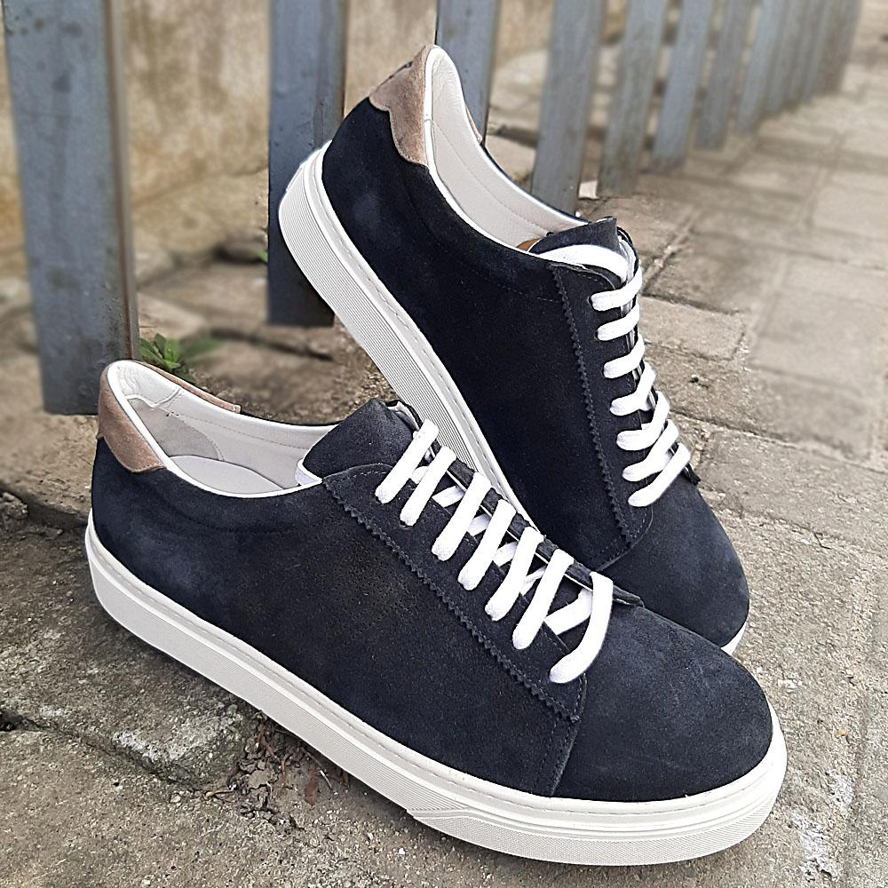 Blue Designer Suede-Leather Sneakers