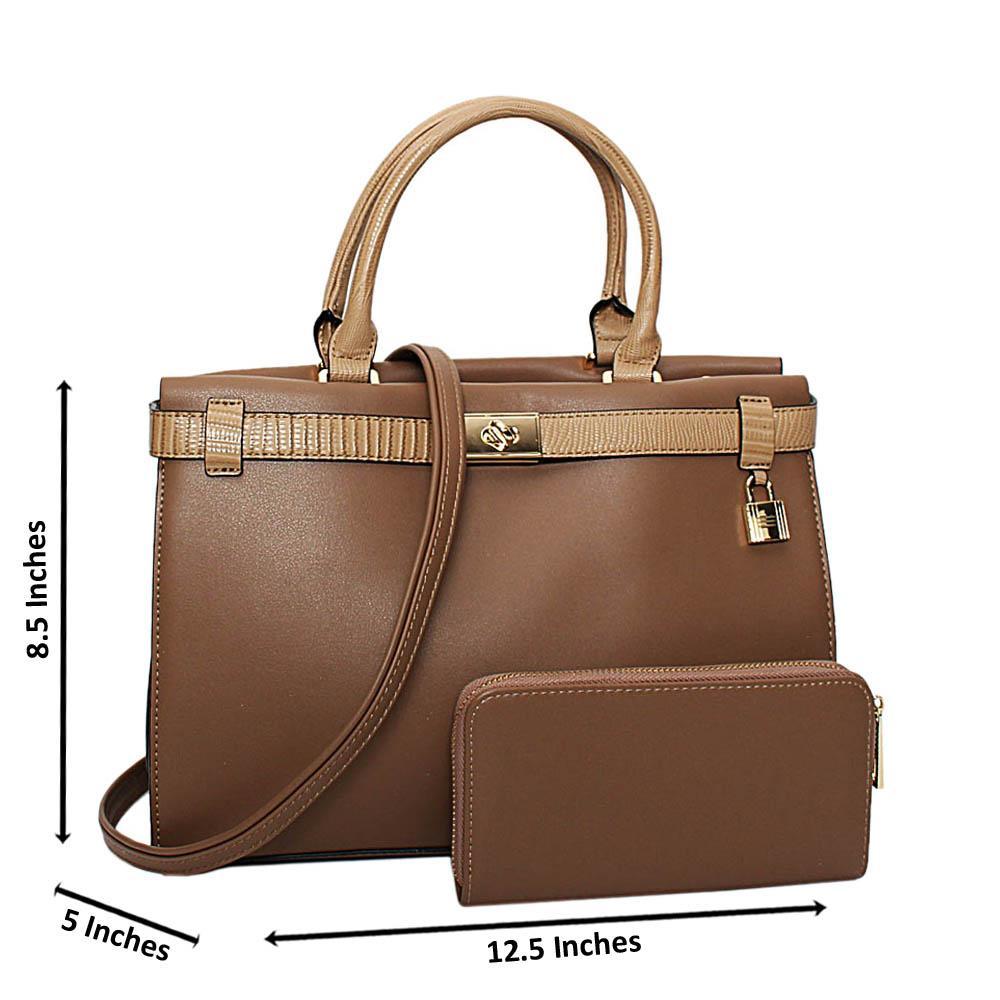 Khaki Bridgette Leather Medium Tote Handbag