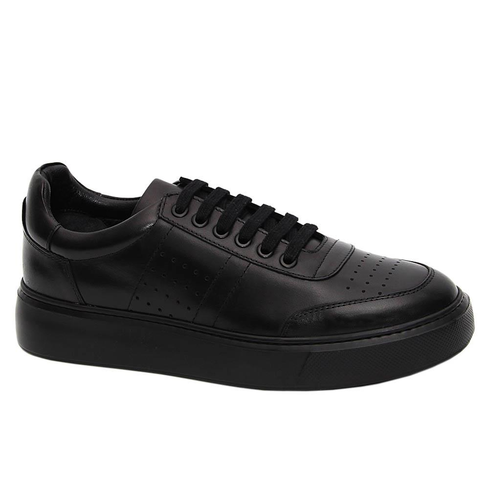 Black Luciano Italian Leather Sneakers