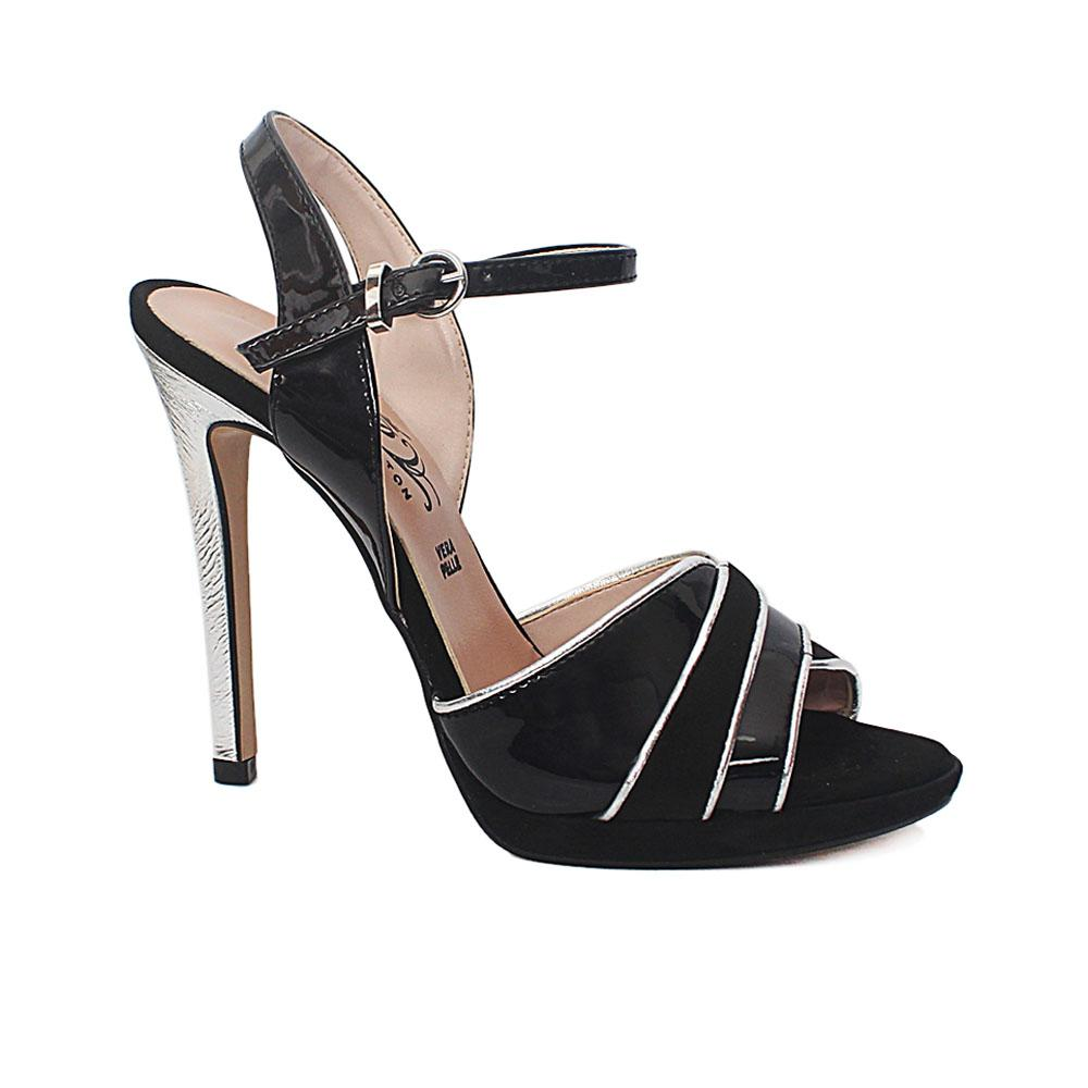 Black Silver Sia Suede Patent Leather Heel Sandals