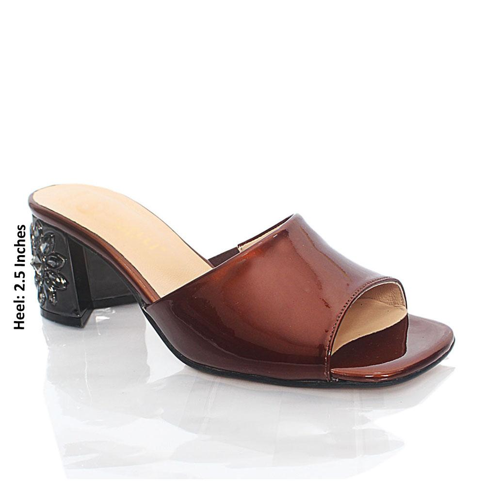 Coffee Luisa Patent Italian Leather Mule