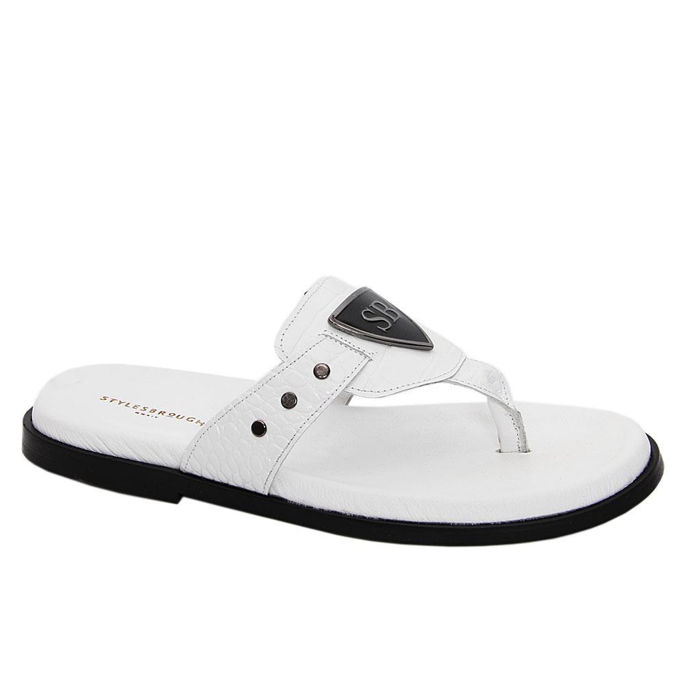 White Raul Italian Leather Slippers