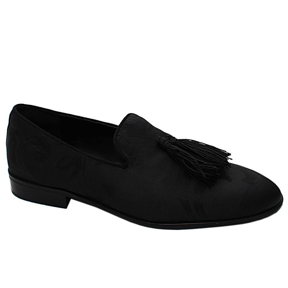Black Luca Scott  Fabric Leather Men Tassel Loafers