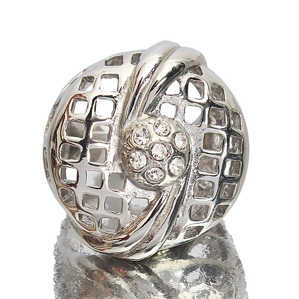 Silver Steel Mesh Style Vintage Ladies Ring Sz XL
